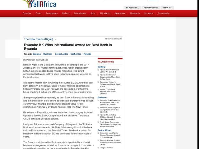 Rwanda: Bank of Kigali Wins International Award for Best Bank