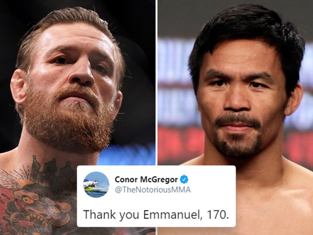 Conor McGregor calls out Manny Pacquiao for fight at 170lbs in teasing response to boxing icon's happy birthday message