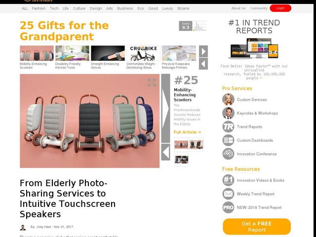 25 Gifts for the Grandparent - From Elderly Photo-Sharing Services to Intuitive Touchscreen Speakers (TrendHunter.com)