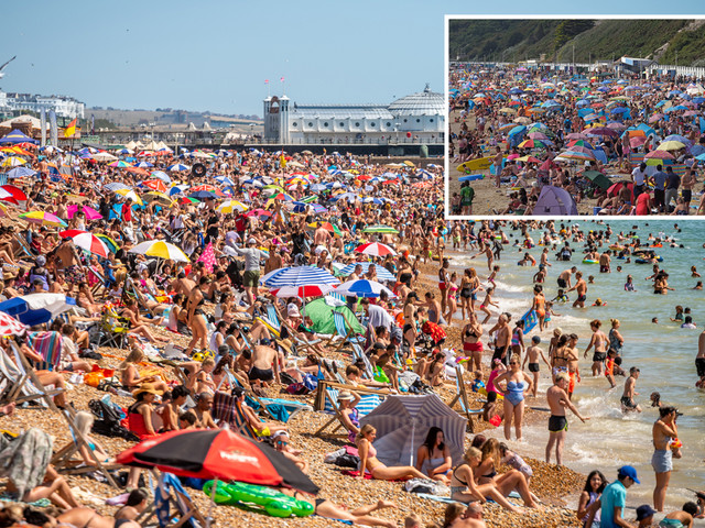 Sunseekers told to STAY AWAY from 19 beaches in 36.4C scorcher as 13-mile stretch of coast shut