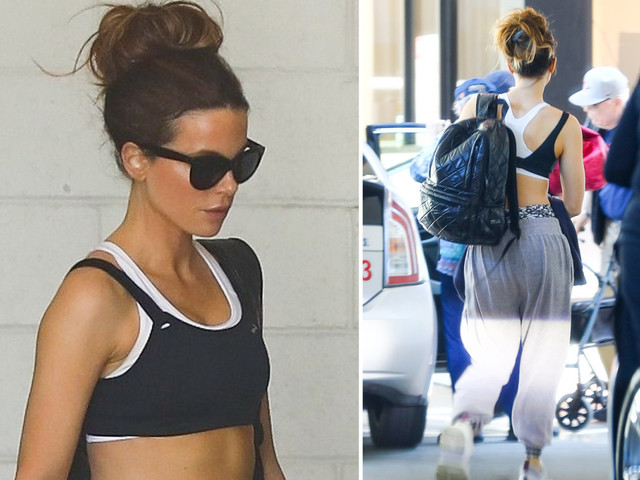 Kate Beckinsale shows off abs in crop top and sports bras as she leaves the gym in LA