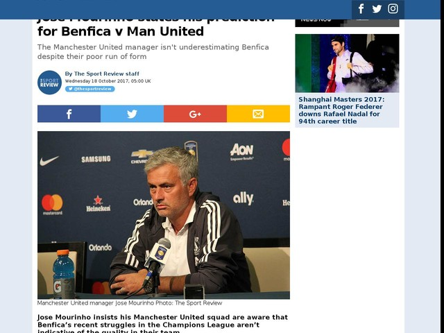Jose Mourinho states his prediction for Benfica v Man United