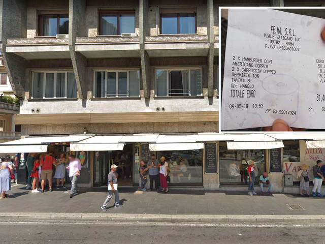 'Ripoff' restaurant in Rome charged tourists £70 for just two burgers and three coffees