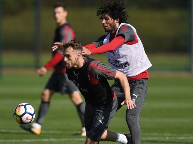 Beefing up for The Baggies! Arsenal warm-up for West Brom clash with full-blooded training session