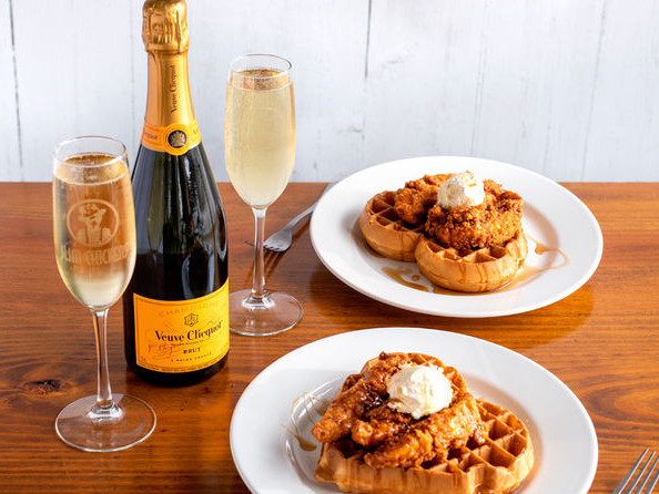 Savory Heart-Shaped Waffles - Slim Chickens Created a Valentine's Day Champagne and Waffles Package (TrendHunter.com)