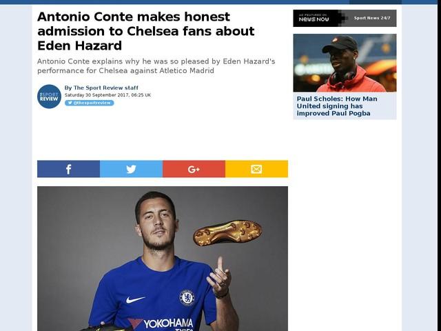 Antonio Conte makes honest admission to Chelsea fans about Eden Hazard