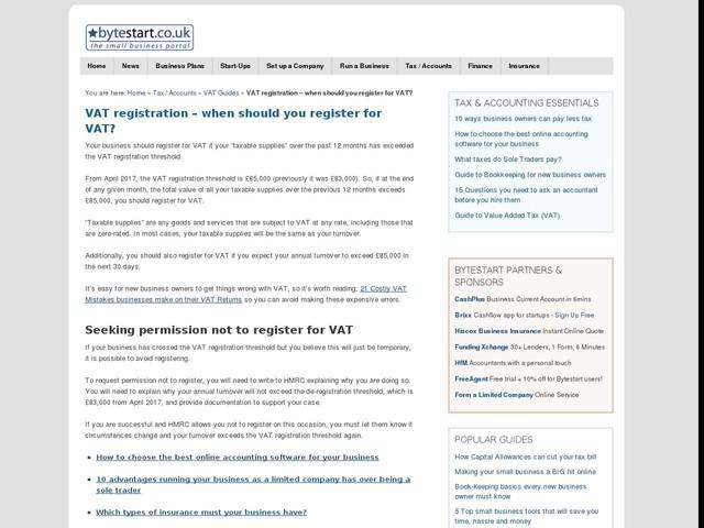 VAT registration – when should you register for VAT?