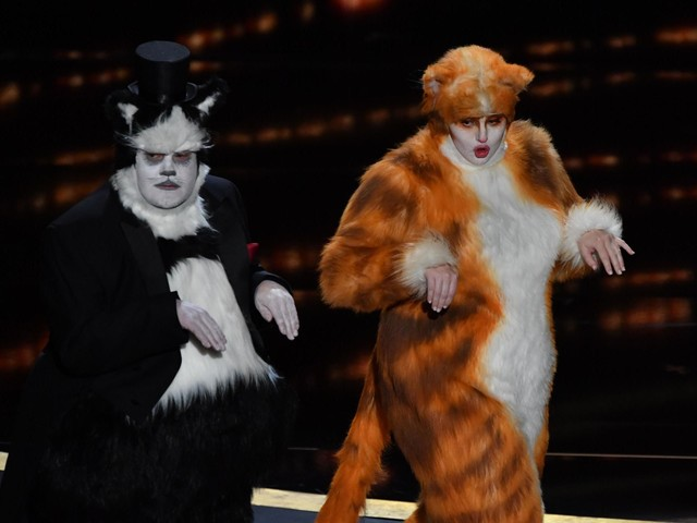 'Creepy and disturbing': James Corden and Rebel Wilson wear cat costumes to present Oscar