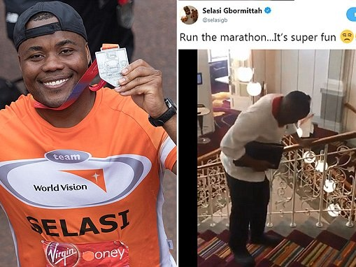 Bake Off star Selasi shares video after the London Marathon