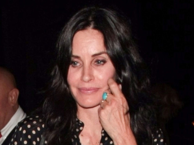 Courteney Cox Wears Polka Dots to Dinner