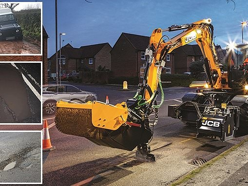 JCB ask Britons to nominate worst potholes - and vows to fill them with new £165k vehicle