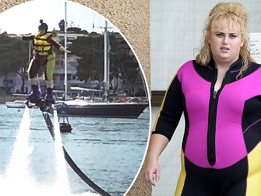 Rebel Wilson spotted in bright wet suit for new film