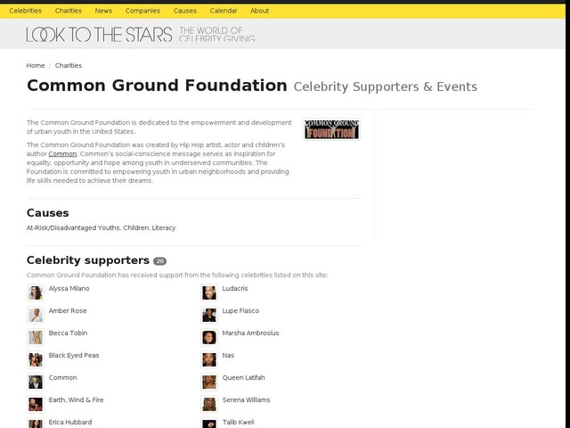 Spotlight: Common Ground Foundation's Celebrity Supporters