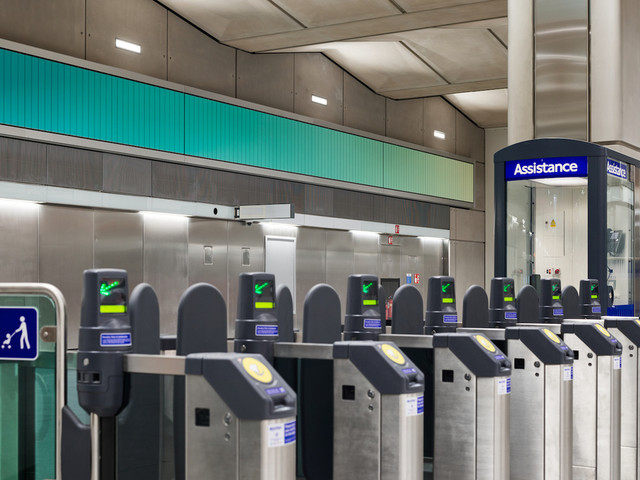 Battersea Power Station Underground's Colour-Changing Ticket Hall