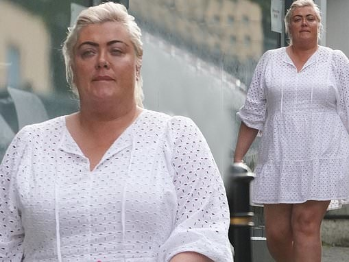 Gemma Collins shows off her three stone weight loss in white dress