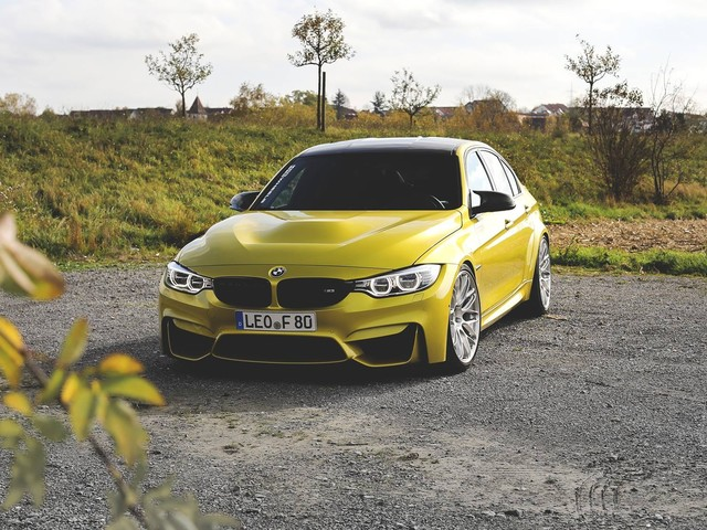 Austin Yellow BMW F80 M3 with HRE RC100 Wheels in Brushed Clear