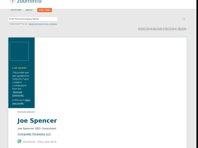 Joe Spencer | Computer Forensics LLC | ZoomInfo.com