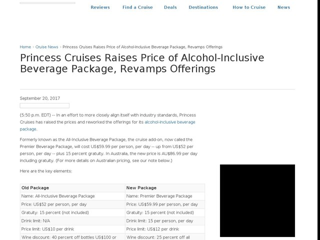 Princess Cruises Raises Price of Alcohol-Inclusive Beverage Package, Revamps Offerings