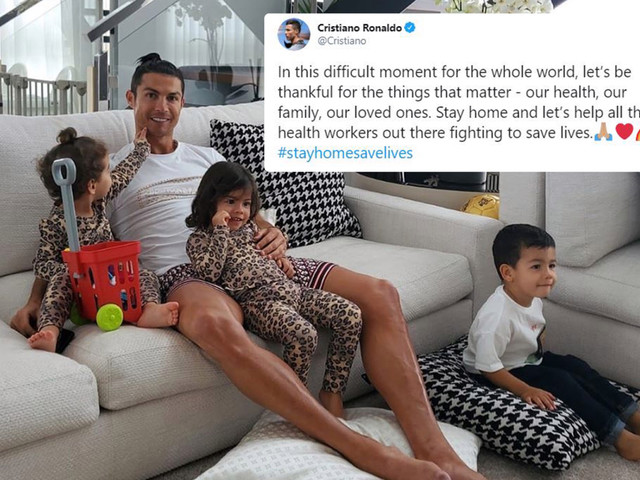 Cristiano Ronaldo gushes over 'family and loved ones' as he posts adorable photo of kids in coronavirus self-isolation