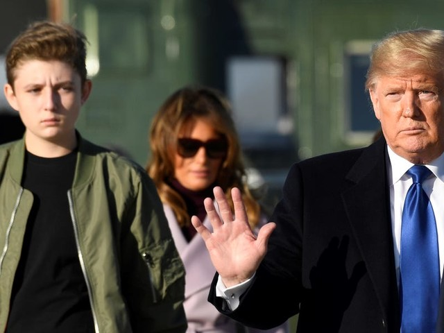 Barron Trump is really tall, and people are joking he could be a future NBA star