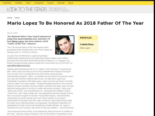 Mario Lopez To Be Honored As 2018 Father Of The Year