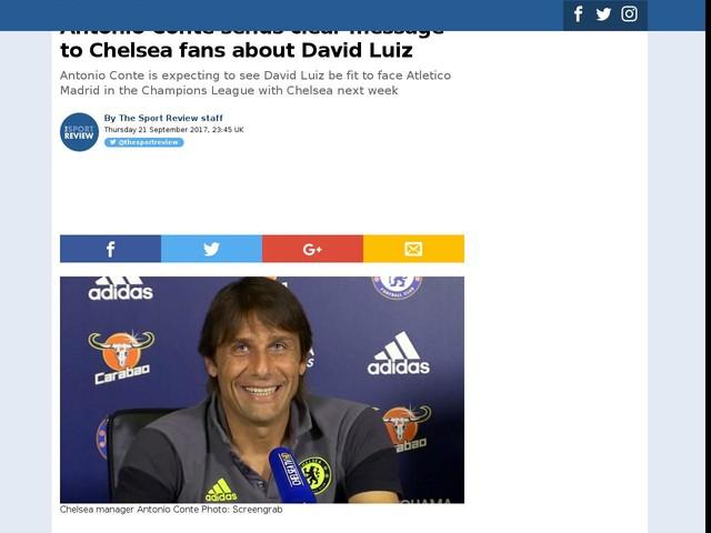 Antonio Conte sends clear message to Chelsea fans about David Luiz
