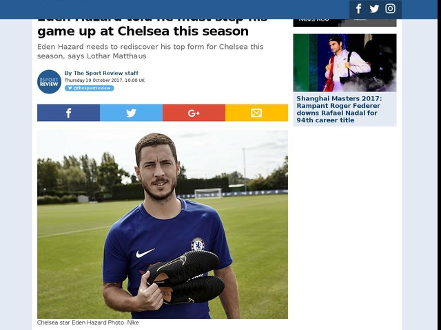 Eden Hazard told he must step his game up at Chelsea this season