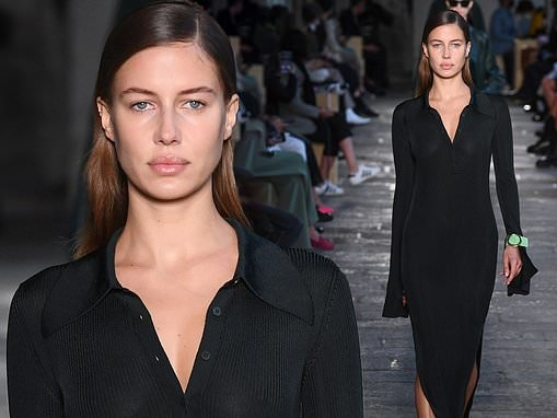 Brad Pitt's girlfriend Nicole Poturalski flaunts model figure at Milan fashion week