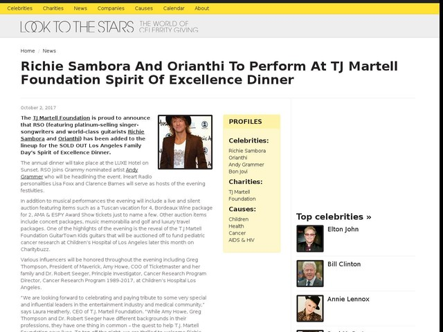 Richie Sambora And Orianthi To Perform At TJ Martell Foundation Spirit Of Excellence Dinner