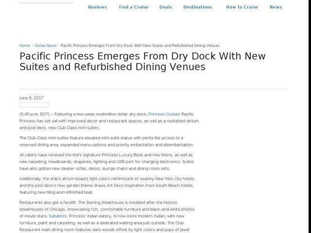 Pacific Princess Emerges From Dry Dock With New Suites and Refurbished Dining Venues