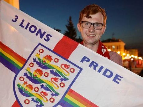 England fan told to take down LGBT England flag in Russian stadium