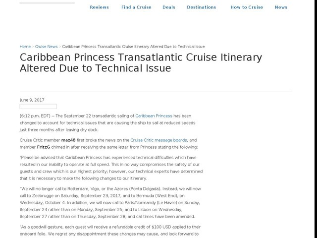 Caribbean Princess Transatlantic Cruise Itinerary Altered Due to Technical Issue