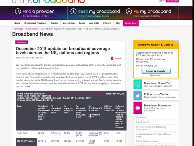 December 2018 update on broadband coverage levels across the UK, nations and regions