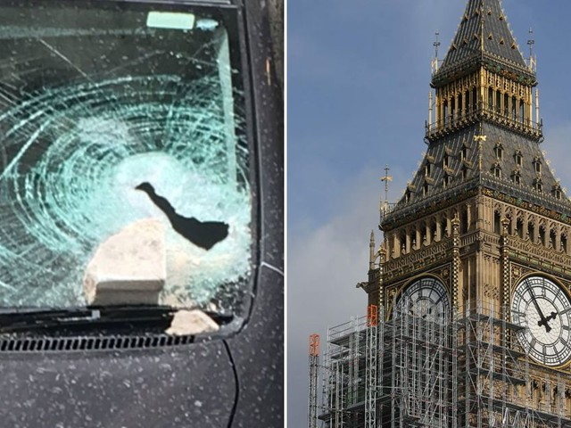 Large piece of masonry fell from parliament's roof and smashed a car window
