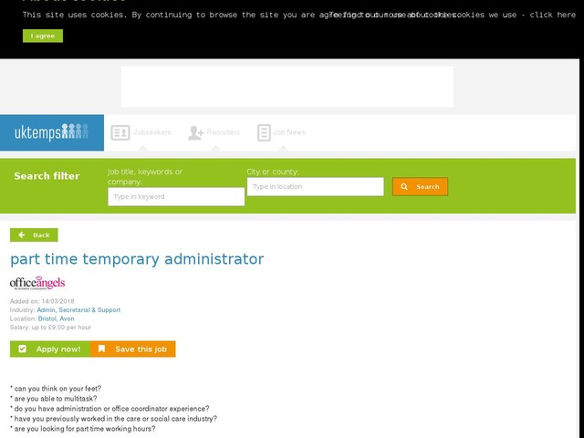 part time temporary administrator