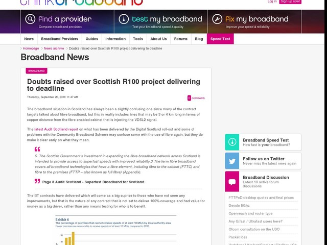 Doubts raised over Scottish R100 project delivering to deadline