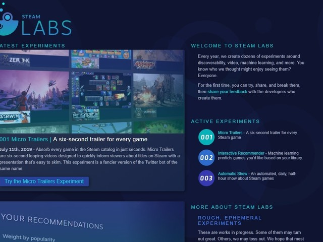 Valve's first wave of Steam Labs experiments look oddly familiar