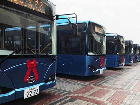 Fleet of 10 BYD electric buses operating on Okinawa