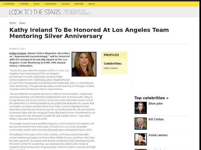 Kathy Ireland To Be Honored At Los Angeles Team Mentoring Silver Anniversary