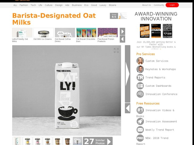Barista-Designated Oat Milks - Oatly's Oat Drink Barista Edition Makes the Perfect Dairy-Free Latte (TrendHunter.com)