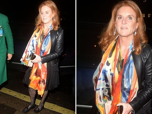 Sarah Ferguson wows in a vibrant scarf for a night out in London