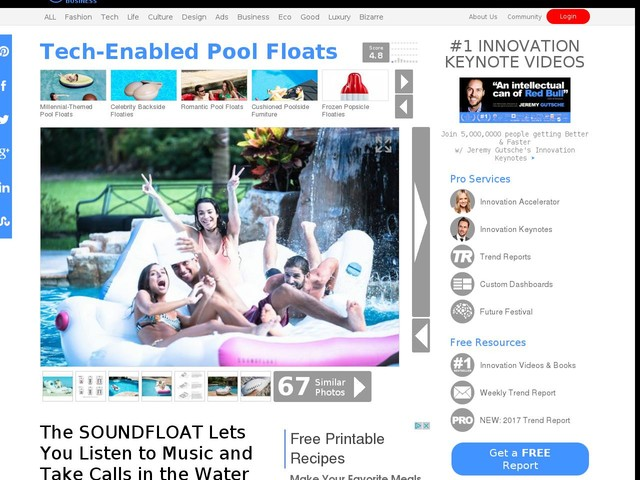 Tech-Enabled Pool Floats - The SOUNDFLOAT Lets You Listen to Music and Take Calls in the Water (TrendHunter.com)