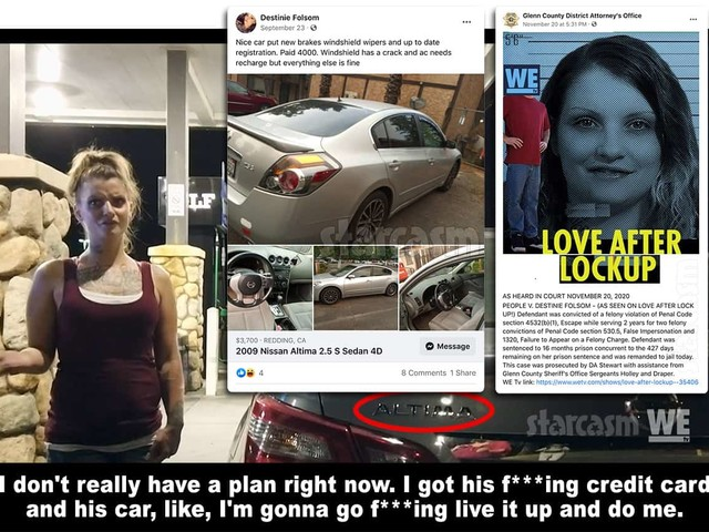 LOVE AFTER LOCKUP Destinie back in prison, tried to sell Shawn's car on Facebook?