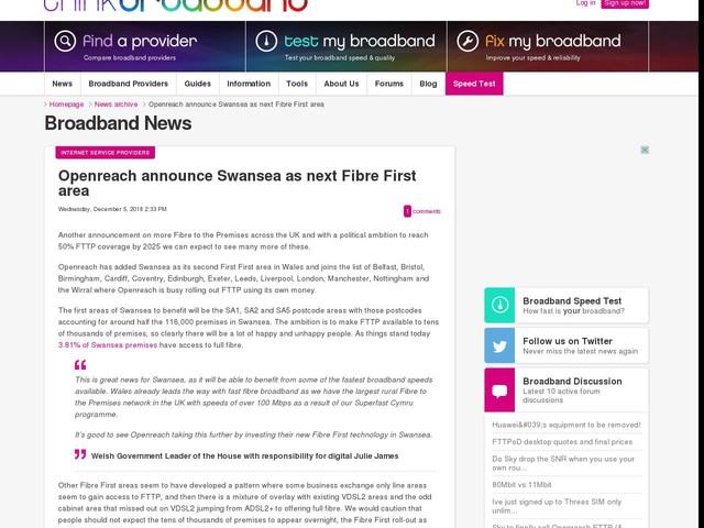 Openreach announce Swansea as next Fibre First area