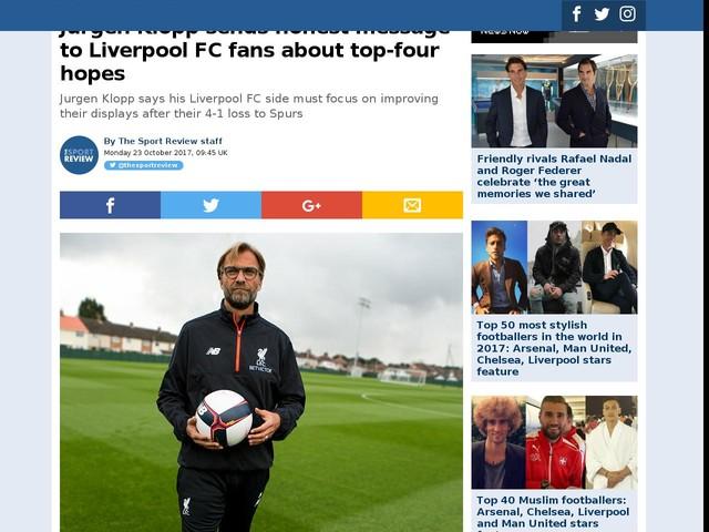 Jurgen Klopp sends honest message to Liverpool FC fans about top-four hopes