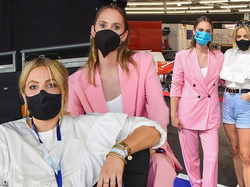 Charlotte de Carle wows in pink suit while Olivia Cox puts on a leggy display in denim cut-offs