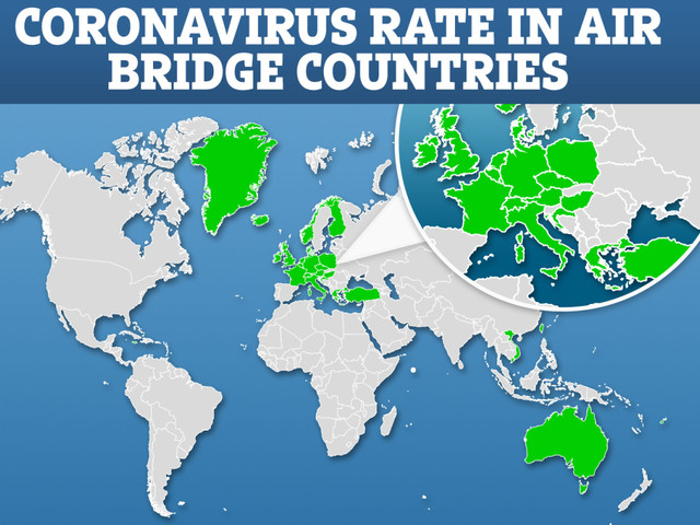 Map shows coronavirus rate in 'air bridge' countries Brits can travel to without quarantine on return from today