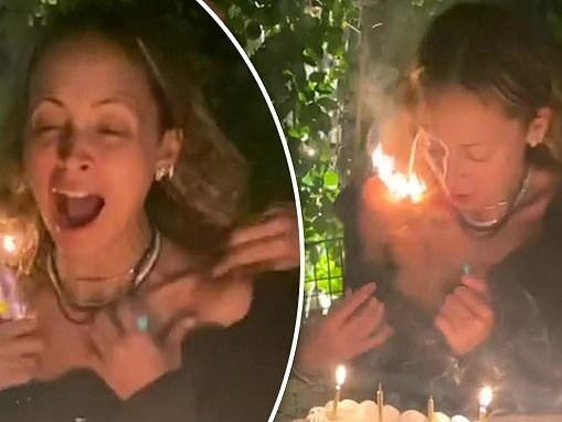 Nicole Richie's hair catches FIRE as she blows out the candles on her 40th birthday cake