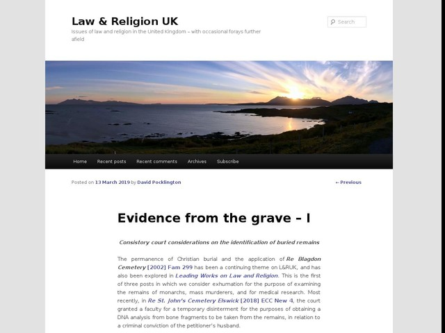 Evidence from the grave – I