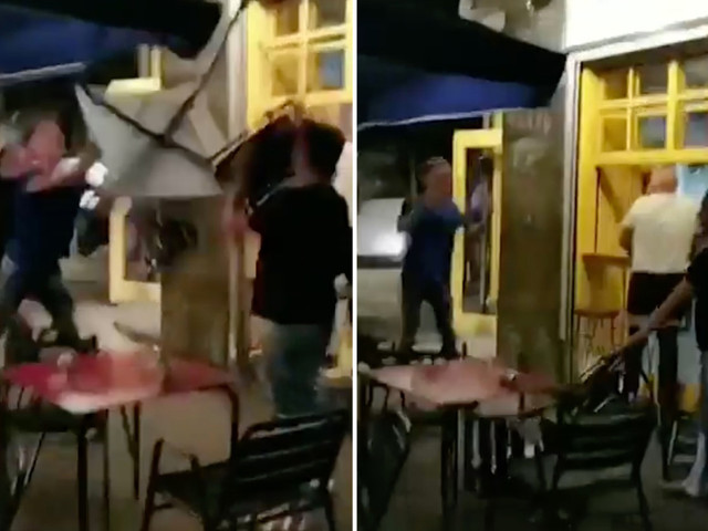 Shocking footage shows three Brit tourists punching holidaymaker in savage attack at Barcelona restaurant